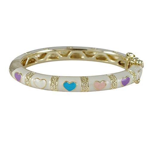 Ivy and Max Gold Finish White Enamel Multi-Color Hearts Girls Bangle Bracelet (35mm)