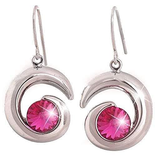 Pendientes con elementos de Swarovski, color fucsia y rosa