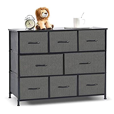 8 Drawers Fabric Storage Organizer Clothes Drawer Dresser, Dresser Storage Tower for Bedroom, Hallway, Entryway, Closets, Heavy Duty Steel Construction, Wood Top