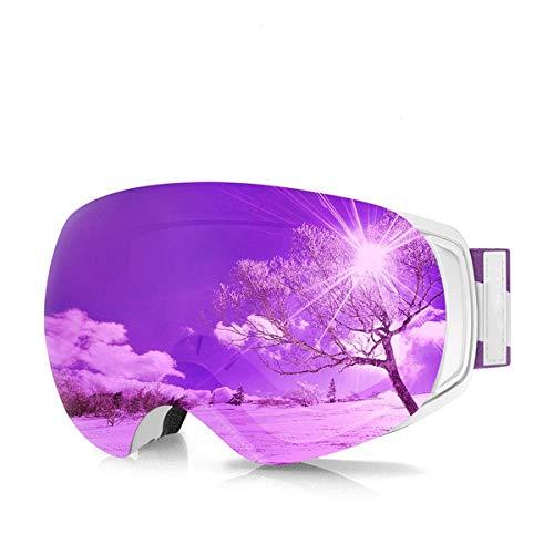 JINGGEGE Ski Snowboard Goggles Magnet Interchangeable Lens Winter Snow Goggles Anti-Fog Protection Helmet Compatible (Color : Purple Lens)