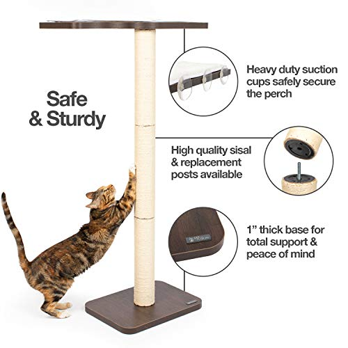 """PetFusion Ultimate Cat Window Climbing Perch 45"""" Tall (Tree Sisal Scratching Posts, Modern Design Simply Suctions to Window. (Easy to Assemble) 1 Year Warranty for Manufacturer Defects"""