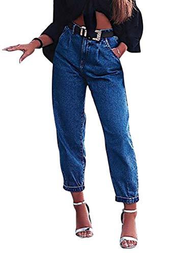 Onsoyours Pantalons Femme Denim Printemps Jeans Baggy Taille Haute Leggings Boyfriend Vintage Jeans avec Boutons BleuFoncé Large