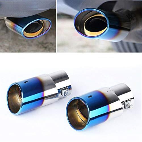 1pc Stainless Steel Blue Mufflers Tip Schwanz Stecker 63mm Fett Salz Öl UV Schmutzwasserdicht Auspuff 2.5Inch / 60mm (Color : Blue)