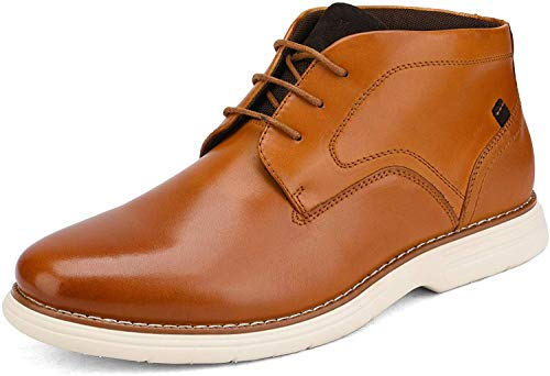 Bruno Marc Men's Brown Oxford Dress Boots Leather Chukka Ankle Boot Madson-2 Size 10.5 M US