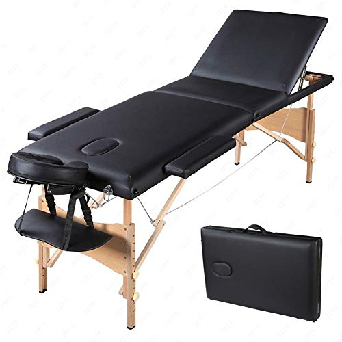 Portable Professional Folding Massage Table, Three-Stage, Natural Wood, Adjustable Footrest, Soft And Comfortable, Stylish And Durable, Black