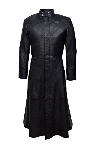 Smart Range - Neo Pleine Longueur Matrix Style Réel Nappa Cuir Veste Manteau - Homme - Taille : 2XL - Couleur : Noir