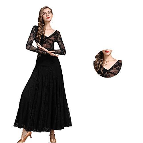Milchseide Walzer Tango Foxtrott Tanzkleid Einfaches V-Ausschnitt Sozial Kleid, Sexy Abnimmt Schlank Nationaler Standard-Tanz Eleganter Rock (Color : Schwarz, Size : XL)