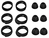 JNSA Replacement Wingtip and Ear Tip Set for Samsung Galaxy Buds, Wingtips 3 Size 3 Pairs and Ear Tips 3 Size 3 Pairs,Fit in The Case, Black BWT3PB