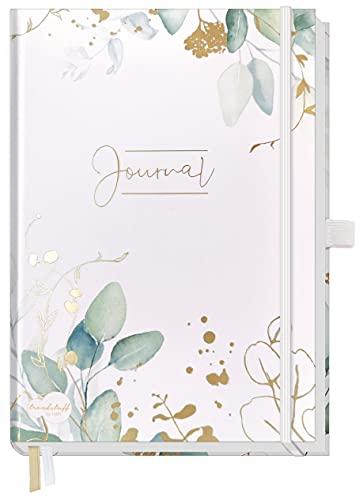 Trendstuff Premium Bullet Journal Dotted - Cuaderno A5 con puntos dorados, 188 páginas de papel grueso, diario con puntos, banda de goma, soporte para bolígrafo, sostenible y neutral para el clima