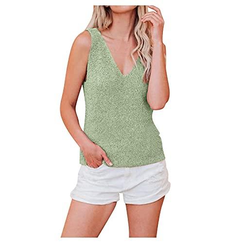 XUEBing Las mujeres de verano casual sin mangas con cuello en V camisetas sin mangas de color puro camisola raya chaleco tops camisas laterales blusa dividida