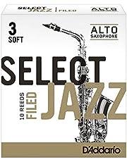 Cañas para saxo alto Rico Select Jazz, corte francés, resistencia 3/blandas, paquete de 10, RSF10ASX3S