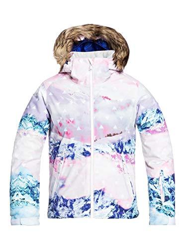 Roxy Jet Ski Se-Chaqueta para Nieve para Niñas 8-16, Bright White pyrennes, 14/XL