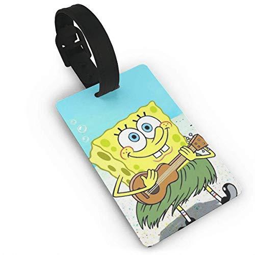SpongeBob Gitarre spielen Happy Luggage Tag Verstellbarer Gurt Bag Baggage Name, Zubehör Tags für Touristen