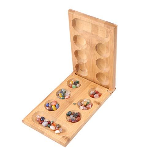 NUOBESTY Holzklapp Mancala Brettspiel mit Edelsteinen Afrikanischen Stein Spiel Familie Spiel Spiel Pädagogisches Spielzeug für Erwachsene Kind Partei Gefälligkeiten