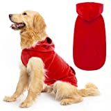 Fleece Dog Hoodies with Pocket, Cold Weather Spring Vest Sweatshirt with O-Ring, Red L