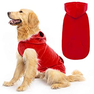 EXPAWLORER Fleece Dog Hoodies with Pocket, Cold Weather Spring Vest Sweatshirt with O-Ring, Red L