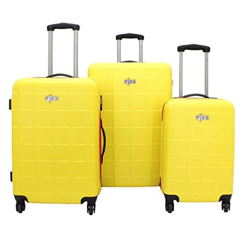 F|23 3-tlg. Trolley-Set, ABS, Wave 2.0, Gelb, TSA-Schloss +wasserdichten RV Juego de...