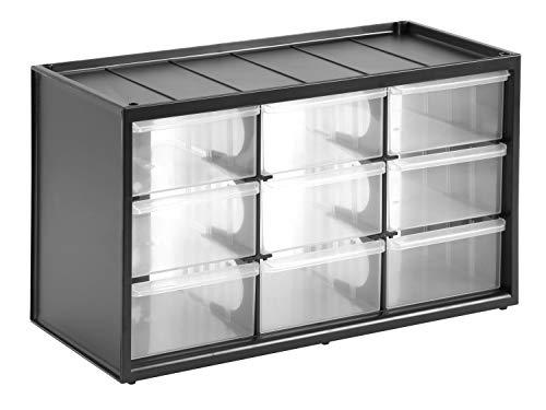 Stanley Kleinteilemagazin / Sortimentskasten (36.5x21.3x15.5cm, mit neun Schubladen, bruchfester Kunststoffrahmen, transparente Schubladen, geeignet für Wandmontage) 1-93-978
