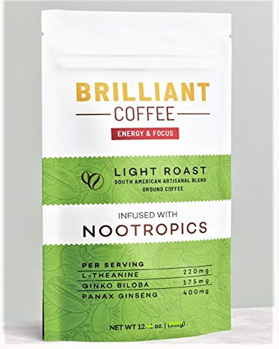 Brilliant Coffee - Ground Coffee Light Roast   Nootropics Infused   100% Arabica Coffee   L-Theanine, Ginkgo, Ginseng   Instant Coffee   Improves Immunity, Mental Health, Energy, Focus   Jitter-Free