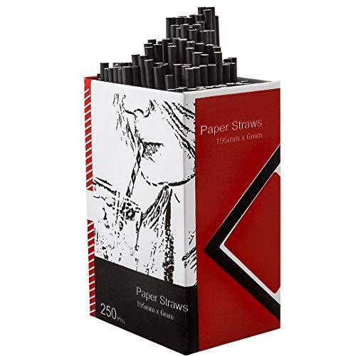 250 Stück biologisch abbaubare Papier-Trinkhalme, schwarz, 20 cm