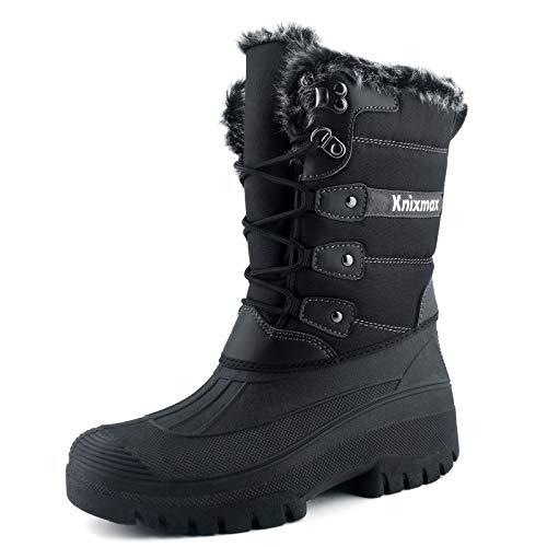 Knixmax Botas de Nieve para Mujer, Zapatos de Invierno Forro de Piel Cálidas Calientes y Impermeables Antideslizante, para Senderismo, Trekking, Caminar, Trabajo, Casuales, Aire Libre, Negro EU 42