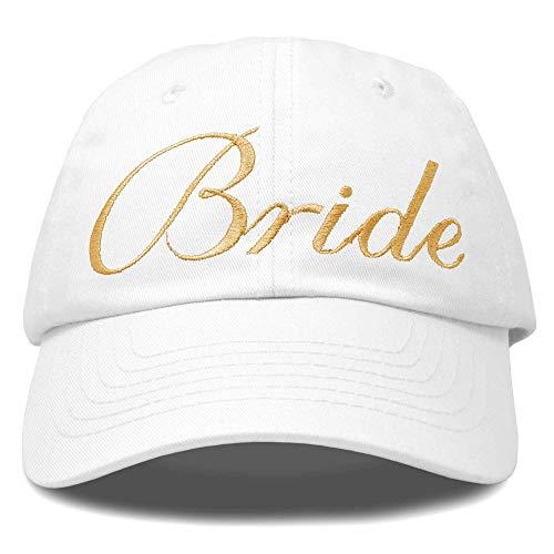 DALIX Bachelorette Party Hats Bride Squad Dad Caps Wedding Bridal Shower White