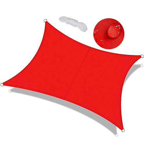 OKAWADACH Toldo Vela de Sombra Rectangular 2 x 4m, protección Rayos UV Impermeable para Patio, Exteriores, Jardín, Color Rojo