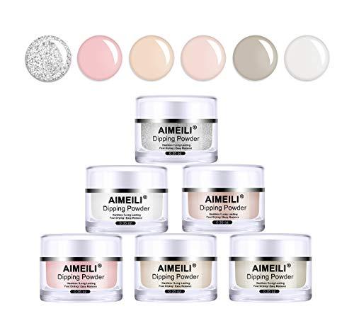 AIMEILI Dip Pulver Nagel Starter Kit Dipping Powder Nail Set of 6 Colors Nail Acrylic Powder...