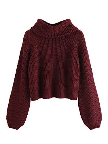 Milumia Women's High Neck Long Bishop Sleeve Jumper Sweater Turtleneck Crop Tops Burgundy Small