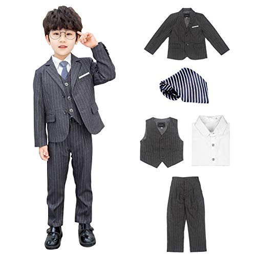 LUlala スーツ子供 フォマール 男の子 5点セット スーツキッズ 男の子 2020キッズスーツ 男の子スーツ フォーマル 100~150子供? 男の子スーツ 子供服フォーマル 七五三(グレー(5点セット), 140)