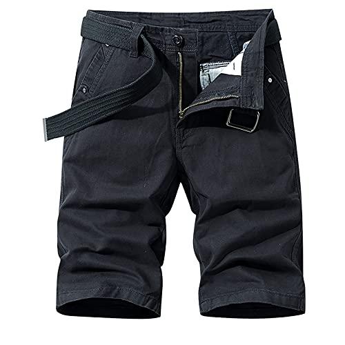 Herren Cargo Hose Shorts Sommer Kurze Hose Vintage Baumwolle Bermuda Shorts Klassisch Sweat Shorts Herren Sporthose mit Multi-Taschen für Freizeit Sport Jogging(Ohne Gürtel)