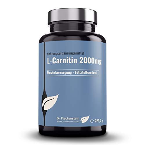 Dr.Fleckenstein L-Carnitin hochdosiert, 2000 mg reines Carnitin pro 4 Tabletten. Nahrungsergänzungsmittel, Fatburner / Fettverbrenner, gesunder Stoffwechsel, vegan, 240 Tabletten