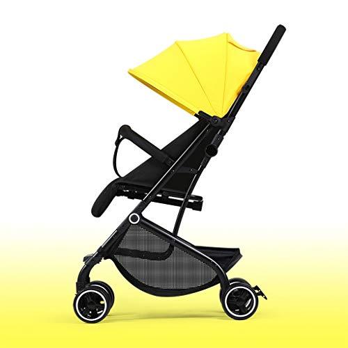 KHUY Légère Pram Voyage Poussette Poussette Carry Bag eith Rain Cover Rainer Couverture Recliner, bébé Landau, siège de Voiture, Poussette (Color : Yellow)
