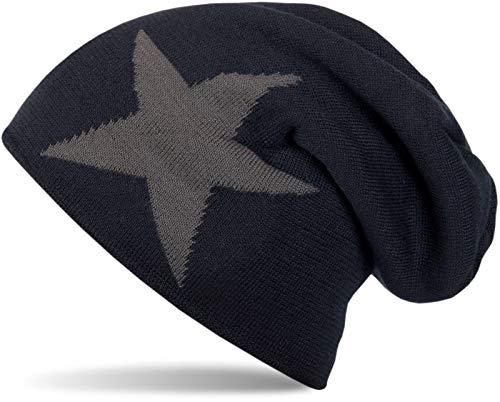 styleBREAKER warme Klassische Strick Beanie Mütze mit Stern und sehr weichem Innenfutter, Unisex 04024026, Farbe:Dunkelblau