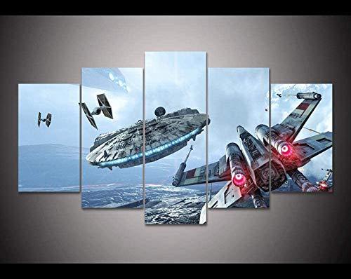 QWEWQE 5 cuadros sobre lienzo, póster del mundo de Star Wars X-Wing Halcón Milenario, lienzo decorativo moderno para sala de estar (L,sin marco)