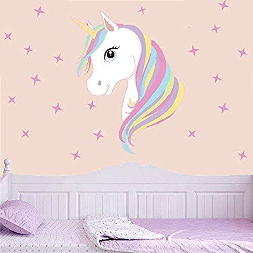 Pegatinas para Niños Unicornio Caballo Pegatinas De Pared Unicornio y Star Pegatinas de Pared Vinilos Decorativos para Habitación Infantiles Niños Dormitorio Salón (Pink)
