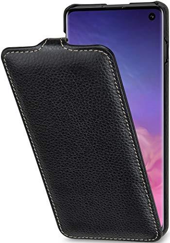 StilGut Cover Samsung Galaxy S10 Custodia in Pelle Flip Case Verticale, Nero