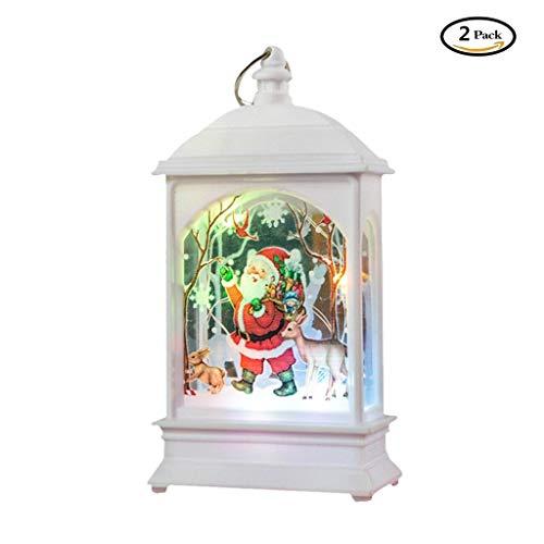DingLong Weihnachten-Deko LED 2Stk, Vintage Laterne, Weihnachtsmann Elch Schneemann, Batteriebetrieben, Tischplattendekoration Weihnachtsdekoration (D)