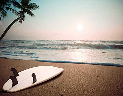 DIY Kits de Pintura de Diamante 5D para Niños y Adultos,Tabla de surf en la playa tropical al atardecer en verano,Arte de la Imagen para la Decor de la Pared del Hogar Regalo,16' x 12'