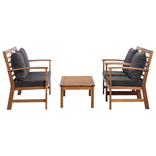 Tidyard 4-TLG.Garten-Lounge-Set Garten-Sofagarnitur Gartenmöbel-Set Terrassenmöbel-Set con Rückenkissen,1 mesa, banco, 2 sillas, Sitzgruppe Sitzgruppe balcón Set,madera maciza de acacia