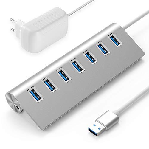 Rybozen Hub USB 3.0 Alimentato 7-Porte, Alluminio Hub con 5V/4A 20W Adattatore di Alimentazione , per Windows iOS Macbook Laptop PC