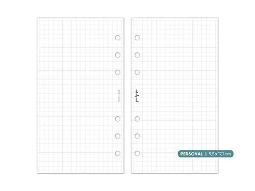 pen & pages® Kariertes Papier - Personal - 6 Löcher - Nachfüllpapier Personal A6 Organizer, Notizpapier 9,5 x 17,1 cm