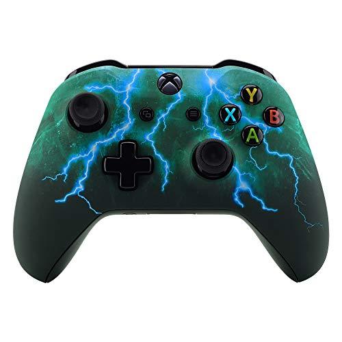 eXtremeRate Gehäuse für Xbox One X/S Controller,Gehäuse Hülle Schale Case Faceplate Zubehör Ersatzteile für Xbox One S/Xbox One X Controller Modell 1708(Grüner Sturm Donner)