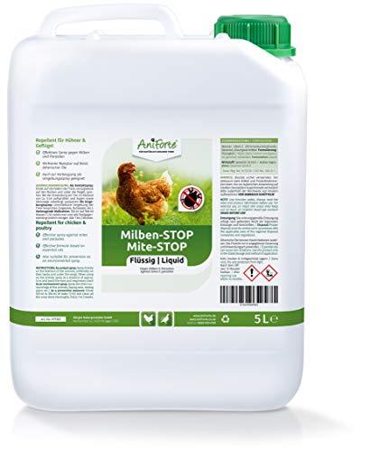 AniForte Milben Stop Flüssig für Hühner & Geflügel 5 Liter - gegen Milben & Parasiten, bei akutem Befall & Vorbeugende Maßnahme, Effektive Abwehr, Ideal zum Nachfüllen Milben Stop Spray