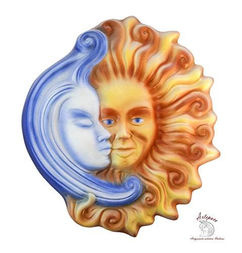 ARTEPACO - Sole Luna Venezia, Decorazione da Parete, in Ceramica, Abbellimento Casa e Giardino, Misura 28 cm