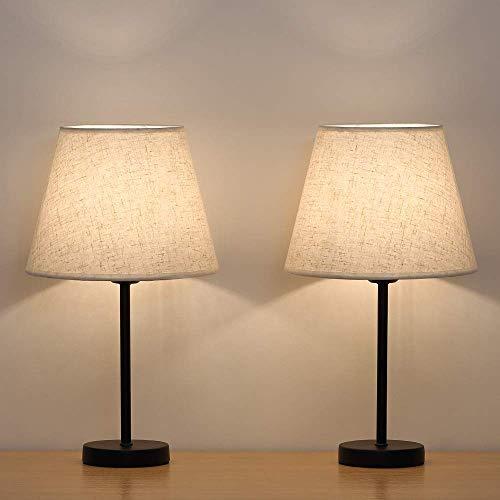 HAITRAL Tischlampe,Nachttischlampen,2er-Set mit Nachttischlampen im Stoffschirm für Schlafzimmer, Wohnzimmer, Büros, Kinderzimmer, Mädchenzimmer, Schlafsäle