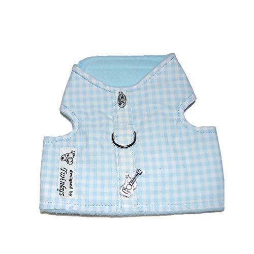 Twinkys Dog Style honden soft servies XS lichtblauw wit geruit met Cowboy hoed en gitaar voor kleine honden halsomtrek 20 cm - 26 cm borstomvang 30 cm - 35 cm