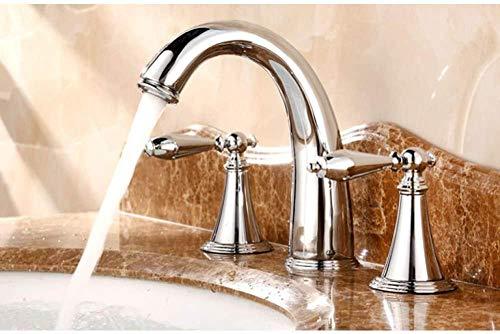 Latón cromado pulido Palancas dobles Manijas generalizadas 3 orificios Baño Vaso Fregadero Grifo Grifo de agua fría / caliente