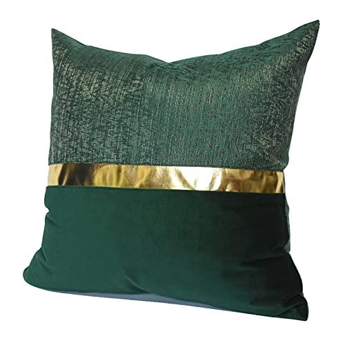 QXbecky Funda de cojín Verde Oscuro Color Claro Costura Estilo de Lujo de Alta precisión (sin núcleo Interior) cojín Cuadrado Moderno y Sencillo decoración de sofá 50cm