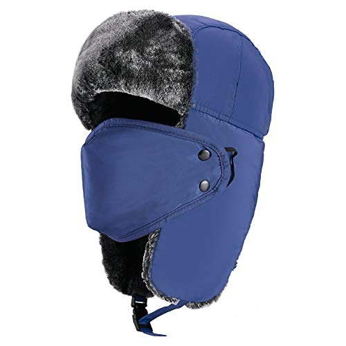 mysuntown Trapper Hat Winter Hats Face Masks Washable Hunting hat,Dustproof and Windproof Warm Hat for Men and Women Blue